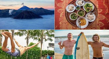 Collage des Backpacker Trips durch Indonesien