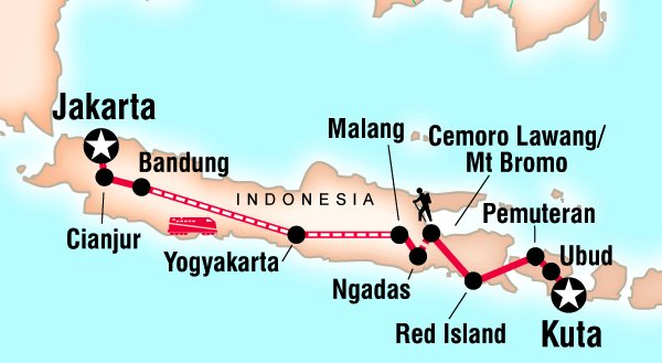 Route des Backpacking Trips Indonesien